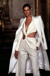 Olivier-Rousteing-For-Balmain-Spring-2015-vs.-Alexander-McQueen-For-Givenchy-Haute-Couture-1997s-White-Torso-Cutout-Pantsuit