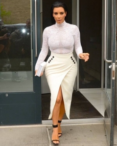 Kim-Kardashians-Selfish-Book-Signing-Christian-Dior-Lacy-Bodysuit-White-Pencil-Skirt-and-Celine-Black-Sandals
