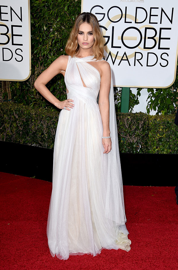 lily-james-golden-globes-2016-Marchesa Spring 2016
