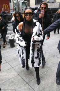 Kim Kardashian in a Fur Coat -2016.2.11-