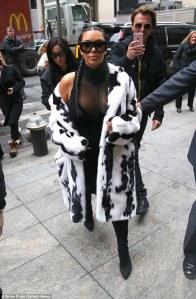 Kim Kardashian in a Fur Coat -2016.2.11-