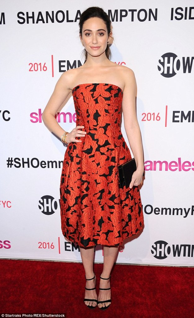 Emmy Rossum in Oscar de la Renta Pre-Fall 2016