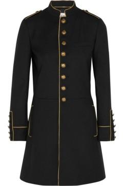 Saint Laurent Metallic Trimmed Wool Coat