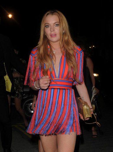 Lindsay Lohan in Elisabetta Franchi Fall 2016-1