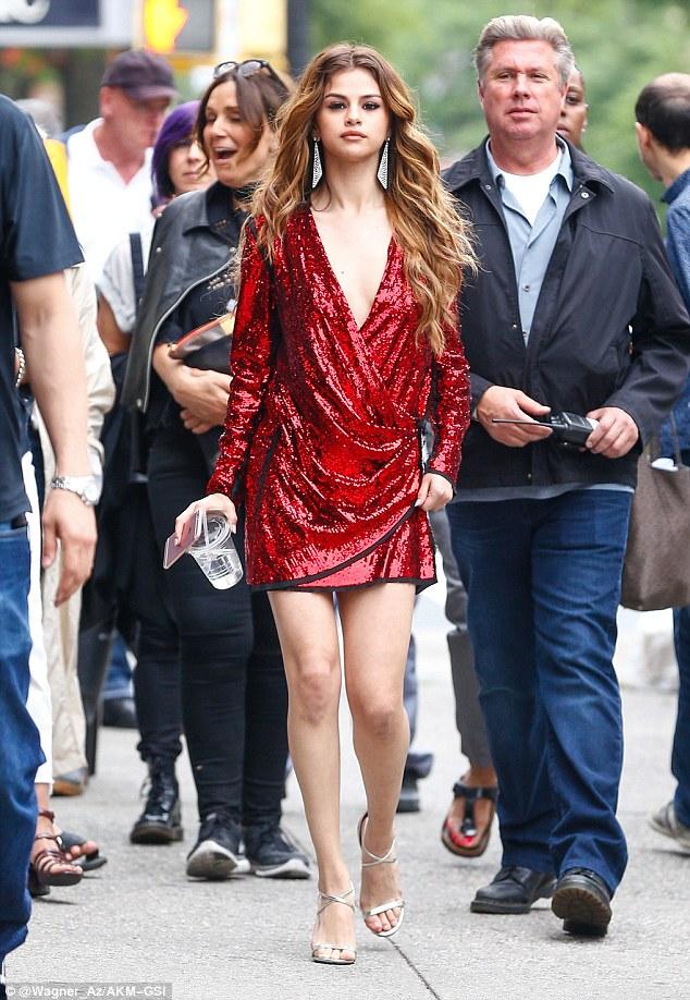 Selena Gomez in Balmain 2013 red sequin dress
