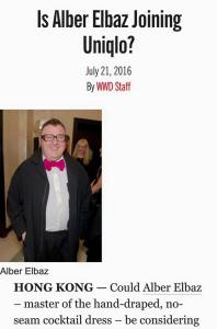 Is Alber Elbaz Joining Uniqlo? -2016.7.21-