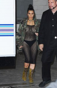 Kim Kardashian in a Mesh Dress -2016.7.16-