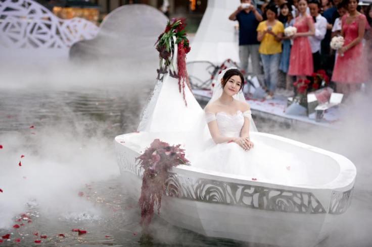 Michelle Chen in Alberta Ferretti Wedding Dress