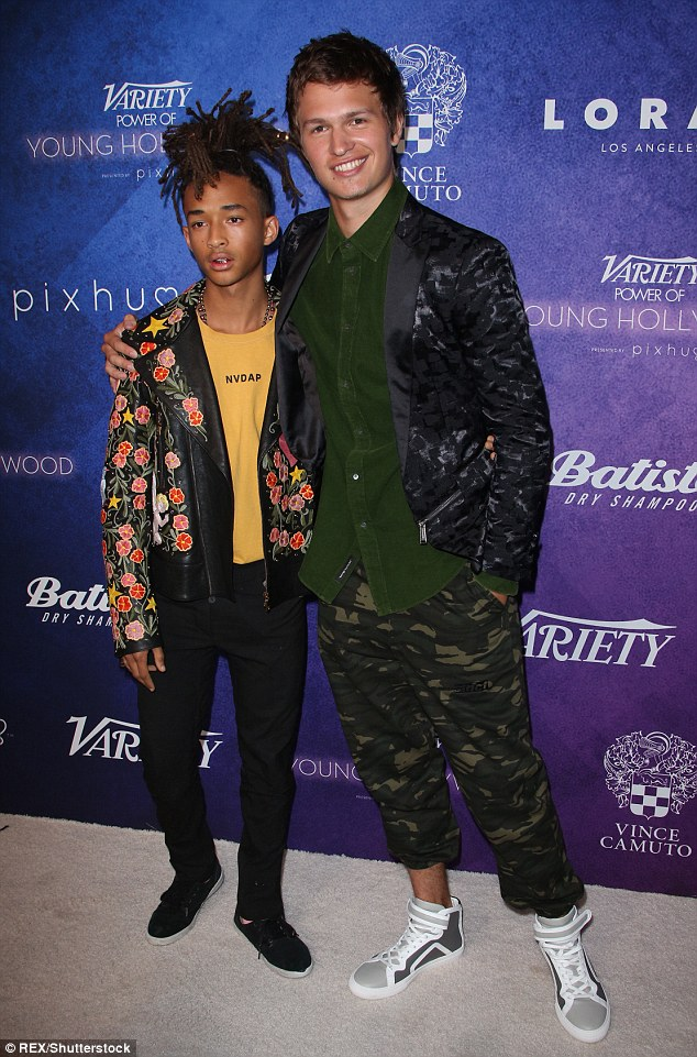 Jaden Smith in Gucci Fall 2016 Menswear with Ansel Elgort in Alexander Wang Fall 2016 Menswear