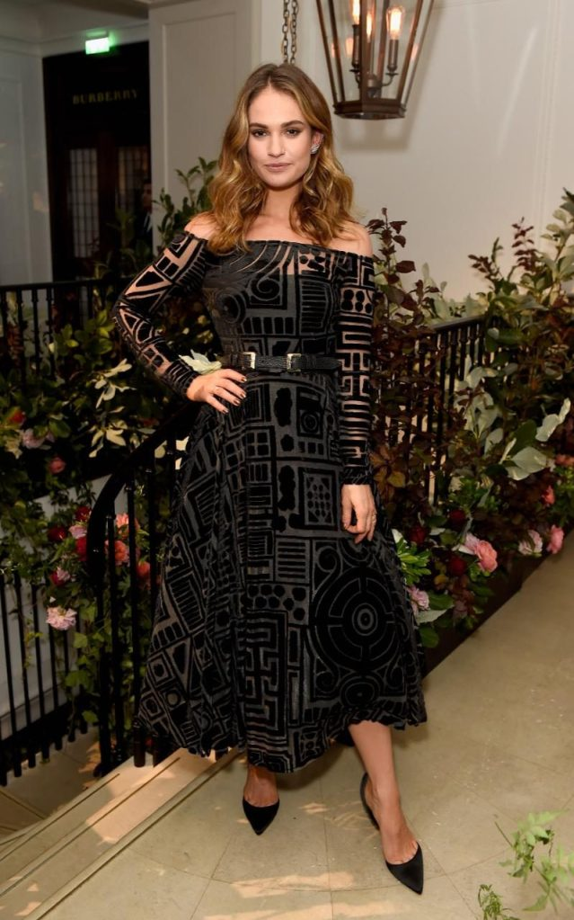 Lily James in Burberry Spring 2017