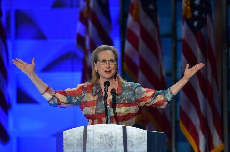 Meryl Streep in Catherine Malandrino Fall 2001 American Flag Dress
