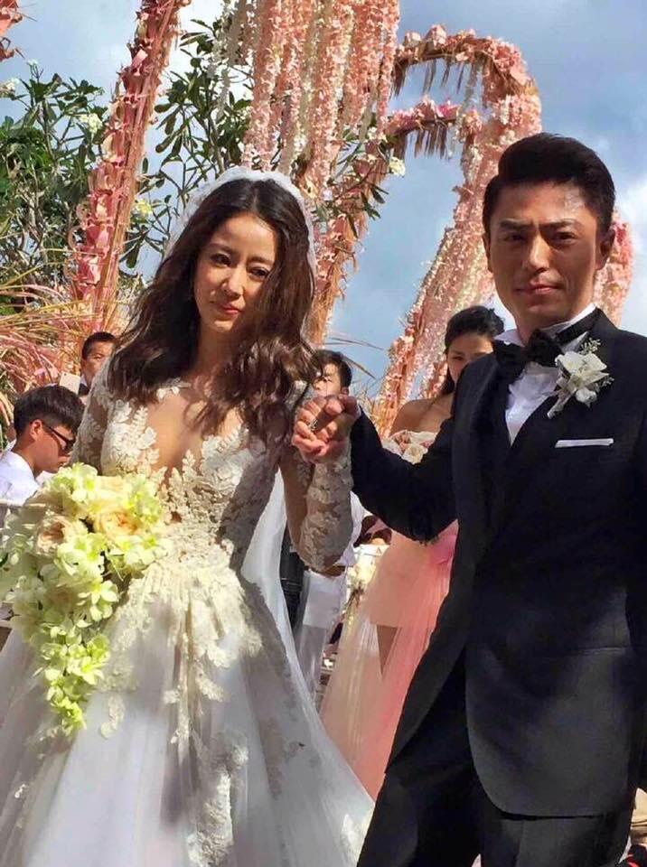 Ruby Lin in Zuhair Murad Bridal Fall 2016 with Wallace Huo in Hugo Boss