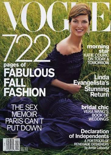 Vogue US September 2001 Cover Linda Evangelista
