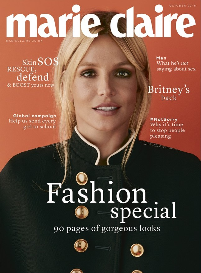 Britney Spears Marie Claire UK October 2016 Cover