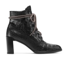 The Gigi Boot in Croco Embossed Leather Black