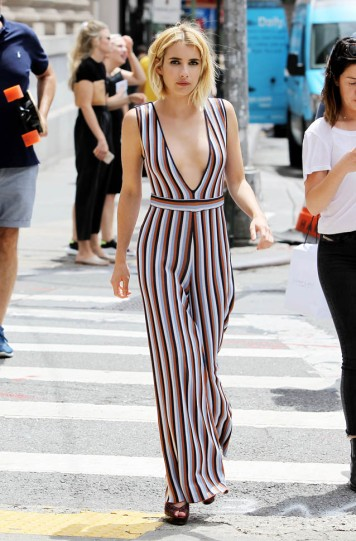 Exclusive... Emma Roberts Rocks A Low Cut Jumpsuit In NYC