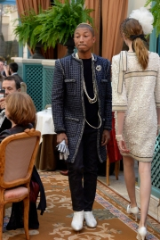 Pharrell walks the Chanel Métiers d'Art show at the Ritz