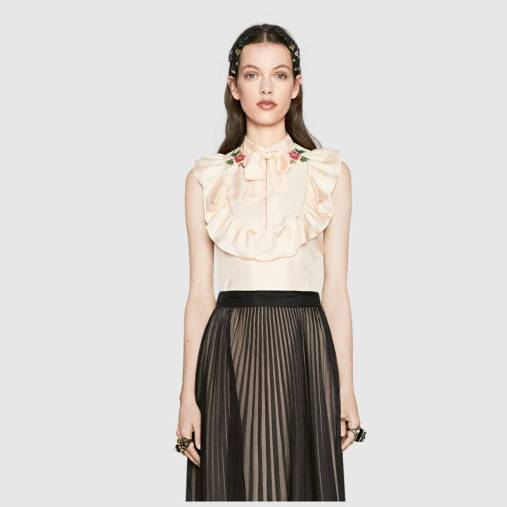 Gucci Embroidered silk twill top