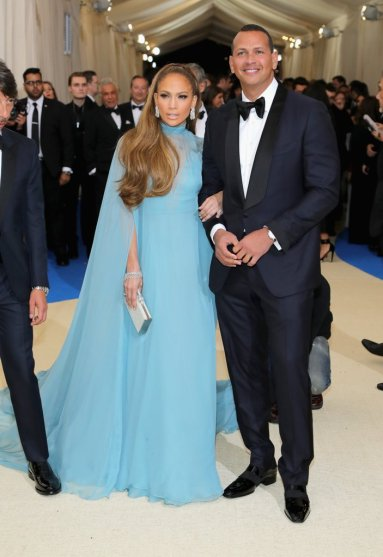 Jennifer Lopez in Valentino Spring 2017 Couture with Alex Rodriguez