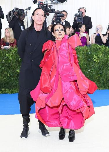 Michele Lamy in Comme des Garçons Fall 2016 with Rick Owens
