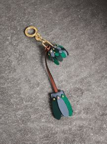 Burberry Beasts Leather Key Charm and Padlock-Green
