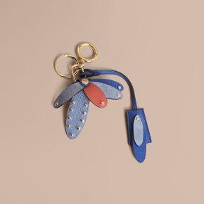 Burberry Beasts Leather Key Charm and Padlock-Hygrangea Blue
