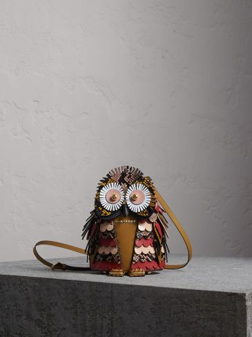 Burberry Calf Suede and Snakeskin Crossbody Bag-The Owl-Red
