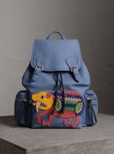 Burberry The Large Rucksack in Deerskin with Beasts Motif-Blue