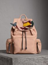 Burberry The Large Rucksack in Deerskin with Beasts Motif-Pink