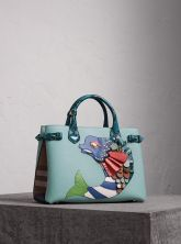 Burberry The Medium Banner in Leather with Beasts Motif-The Fish-Blue