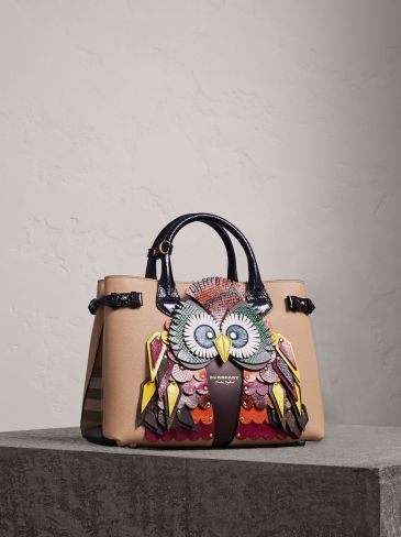 Burberry The Medium Banner in Leather with Beasts Motif-The Owl