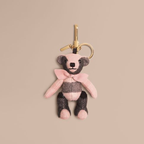Burberry Thomas Bear Charm in Check Cashmere-Ash Rose