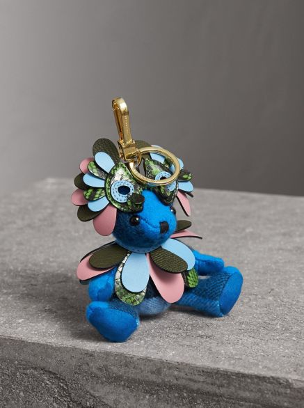 Burberry Thomas Bear Charm in Check Cashmere with Beasts Detail-Bright Cornflower Blue