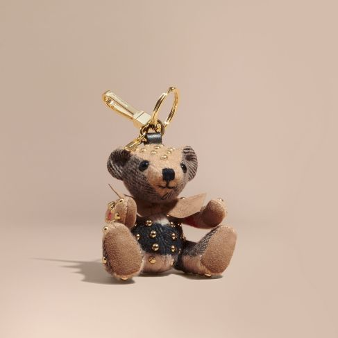 Burberry Thomas Bear Charm in Riveted Check Cashmere-Camel