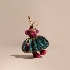 Burberry Thomas Bear Charm in Ruffled Leather with Crystals-Fuchsia Pink