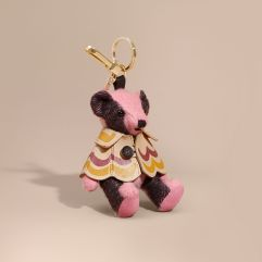 Burberry Thomas Bear Charm in Trompe L'oeil Print Cape-Rose Pink