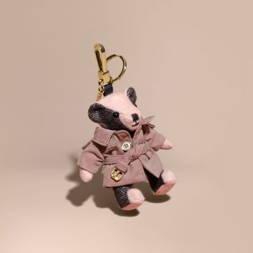 Burberry Thomas Bear Charm with Tropical Gabardine Trench Coat-Ash Rose