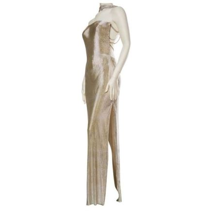 Gianni Versace Couture Metal Mesh Backless Dress with Crystals