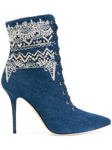 Rihanna x Manolo Indigo Denim and Sequin Detail Ankle Boots