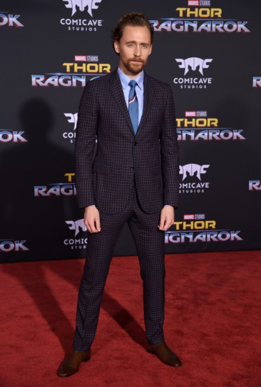 """Tom Hiddleston arrives at the world premiere of """"Thor: Ragnarok"""" at the El Capitan Theatre on Tuesday, Oct. 10, 2017, in Los Angeles. (Photo by Chris Pizzello/Invision/AP)"""