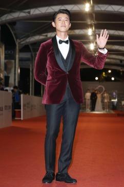 Wu Kang Ren in Salvatore Ferragamo Velvet Suit
