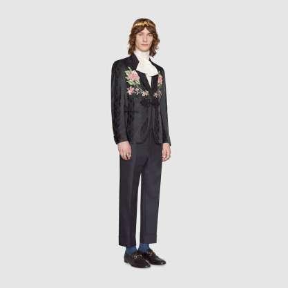 Gucci Leaves jacquard evening jacket