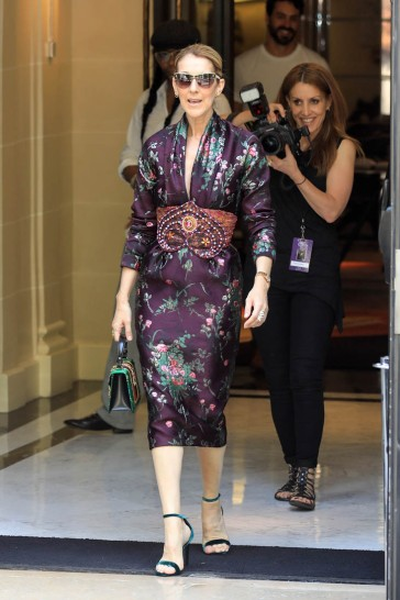Celine Dion waves to her fans outside the Royal Monceau