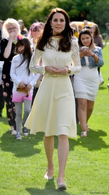 Britain's Catherine, Duchess of Cambridge attends a tea party at Buckingham Palace in London