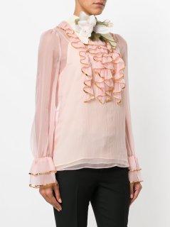 Gucci sheer sequin trim ruffle blouse-2