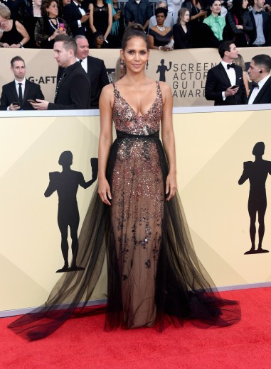 Halle Berry in Pamella Roland Pre-Fall 2018