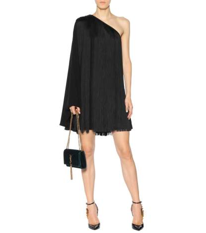 Saint Laurent Fringed One-Shoulder Minidress