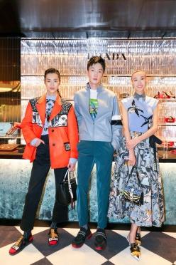 Liu Wen in Prada Spring 2018 with Shupei Qin in Prada Spring 2018-1