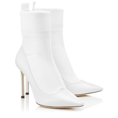 Jimmy Choo White Nappa Leather and Stretch Fabric Sock Ankle Boots