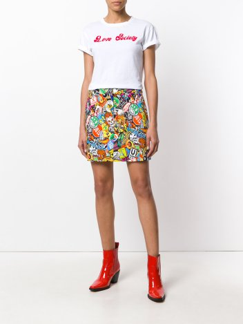Moschino patch print mini skirt